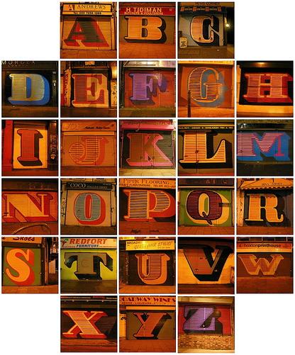 Alphabet shutters