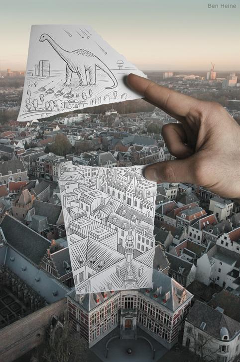 Cityscape + dinosur
